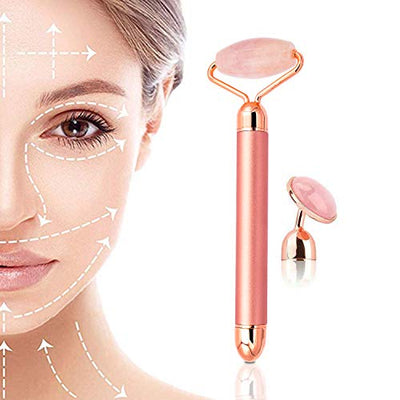 Electric Vibrating Natural Rose Quartz Jade Roller - GearMeeUp