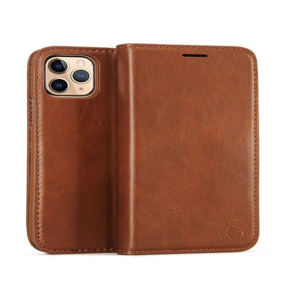 Handmade Genuine Leather Flip Cases Cover For iPhone - GearMeeUp