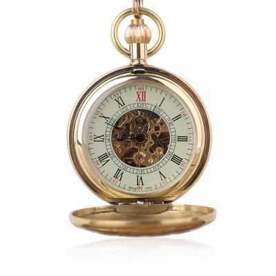 Antique Gold Skeleton Mechanical Pocket Watch - GearMeeUp