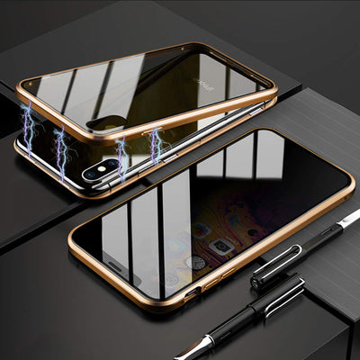 Magnetic Metal Privacy Tempered Glass Phone Case - GearMeeUp