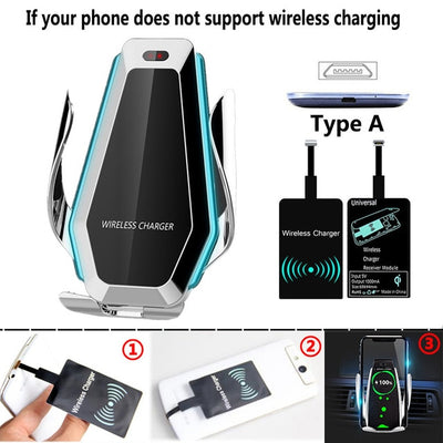 10W Automatic Car Phone Clamp Qi Wireless Charger - GearMeeUp