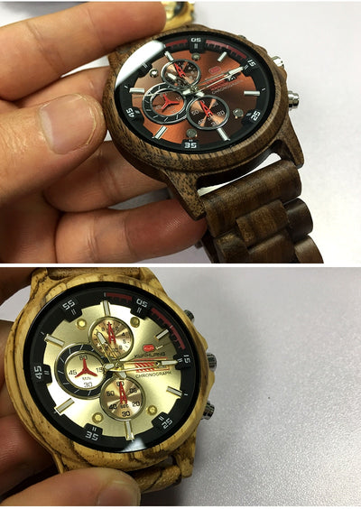 Stylish Wood Chronograph Military Mens Watch - GearMeeUp