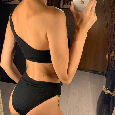 SABRINA™ One Shoulder Mid Waist Swimwear - GearMeeUp