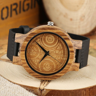 Compass Dial Pattern Wood Watch for Men - GearMeeUp