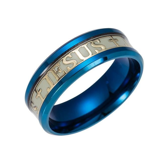 Stainless Steel Luminous Jesus Ring - GearMeeUp