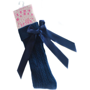 Navy Knee High Socks with Ribbons