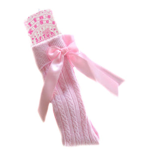 Pink Knee High Socks with Ribbons