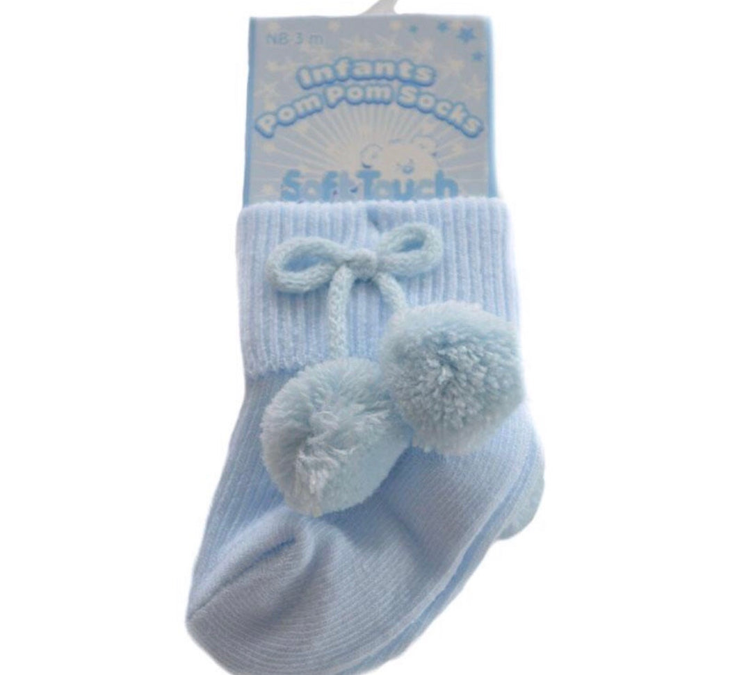 Blue Ankle Pom Socks