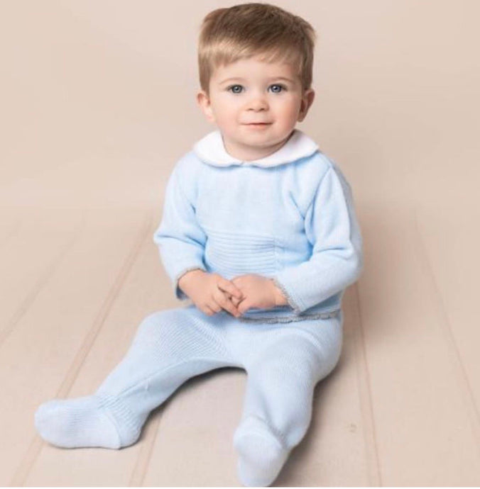 Blue and Grey Boys knitted 2 piece set