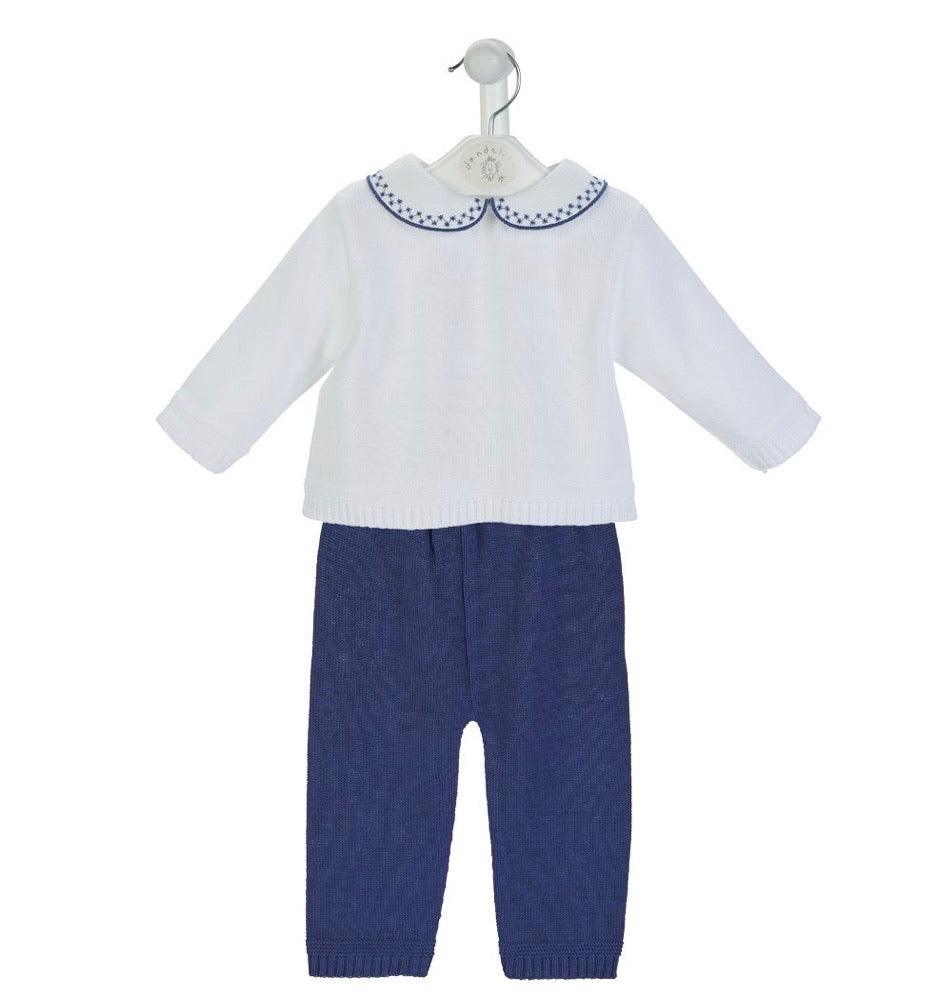Boys Navy Knitted Trouser & Top