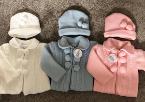 Pom Jacket and Hat (Blue, White or Pink)