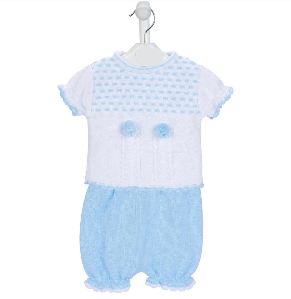 Dash knitted Top & Bloomer in Blue