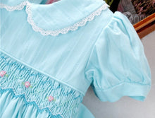 Load image into Gallery viewer, Erin Aqua Blue Handsmocked Dress (also available in pink & pale green)