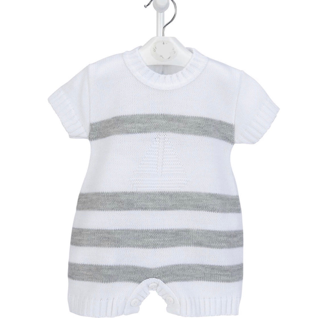 Knitted Boat & Stripe Romper (blue or grey)