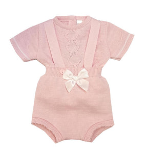 Knitted Bow Short Dungaree Set (White or Pink)