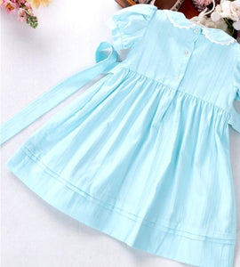 Erin Aqua Blue Handsmocked Dress (also available in pink & pale green)