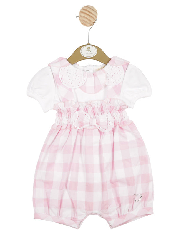 Mintini Smocked Gingham Dungaree Set