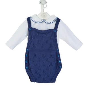 Boys Navy Knitted Romper & Top