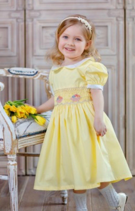 Spring Yellow Hand Smocked Dress