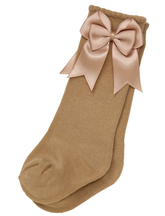 Girls Knee Length Bow Cotton Socks (12 Colours)
