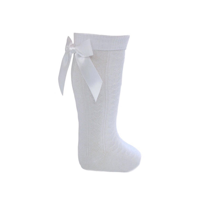 White Knee High Socks with Ribbons