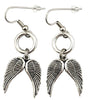 Angel Wing Earrings, Silver-Tone