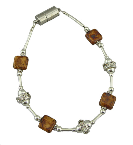 Brown Square Simply Elegant Magnetic Bracelet