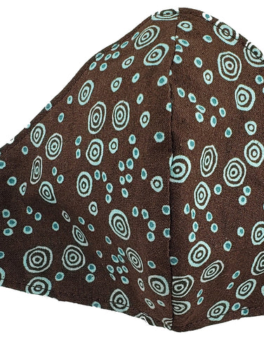 Brown and Teal Swirls, structured Mask w/ ties, Size: Woman/Teen