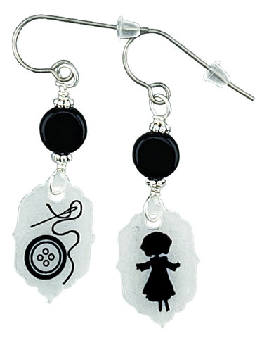 Coraline Inspired Earrings Button and Doll
