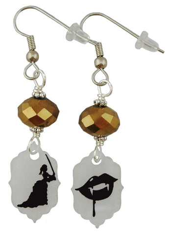 Fighting Lady & Vampire Steampunk Earrings