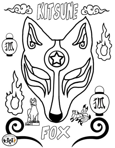 Kitsune, Coloring-book Page