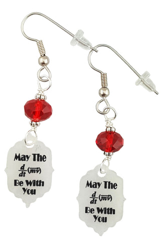 May The Force Be W/ You Math Pun, Earrings