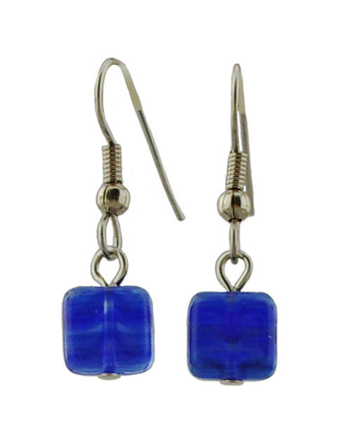 Small Blue Square Earrings