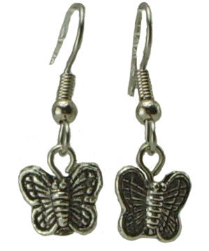 Butterfly Earrings, small, pewter