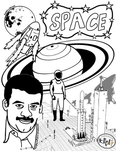 Space Coloring-Book Page