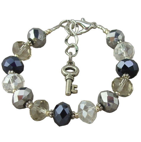 Black and Gray Sparkle Asjustable Bracelet