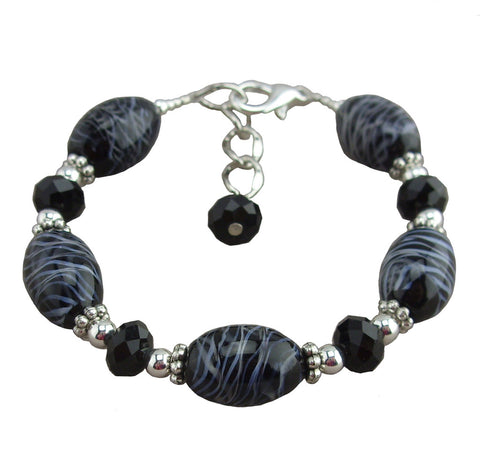 Black Swirl Glass Adjustable Bracelet