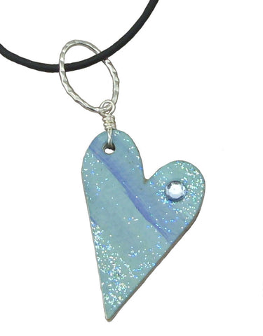 Blue-Green Recycled Mail Pendant