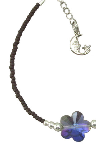 Brown and Blue Crystal Anklet