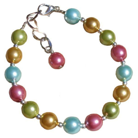 Kaleidoscopic Glass Pearl Adjustable Bracelet