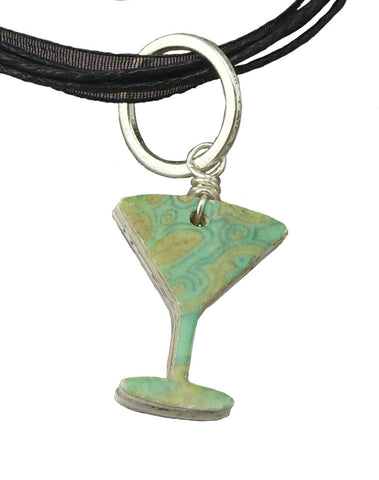 Green Martini Glass Recycled Mail Pendant