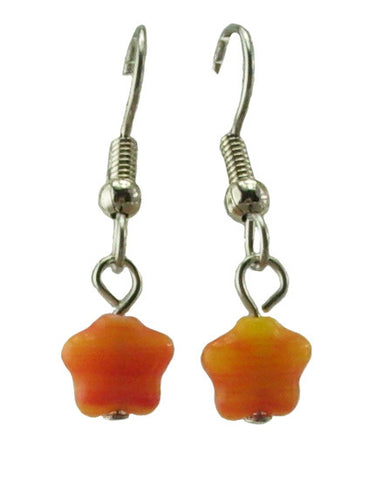 Orange Star Earrings, Small