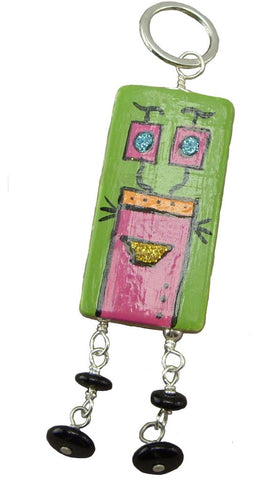 Pink and Green Robot Pendant