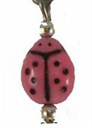 Pink Ladybug; earrings, small