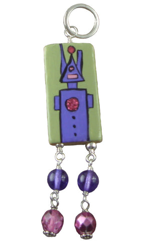 Purple and Green Robot Pendant