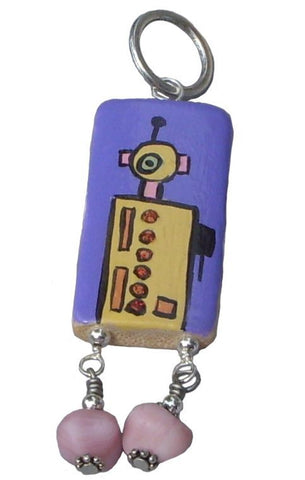 Yellow and Purple Robot Pendant