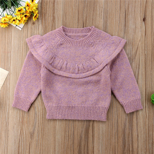 Cute Baby Girls Knitted Crochet Sweater Winter Warm Clothes Jumper