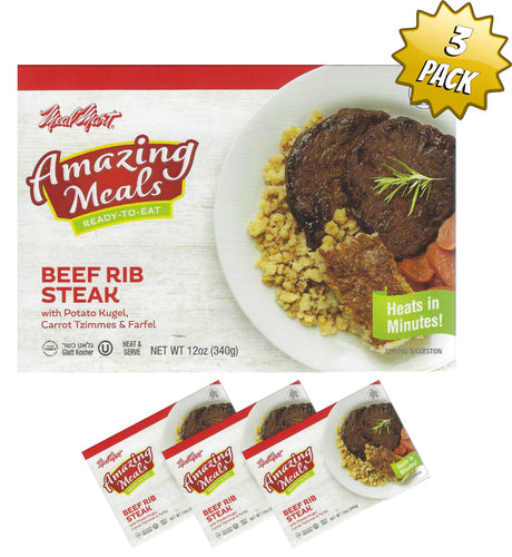 Meal Mart Amazing Meals Beef Rib Steak with Potato Kugel, Carrot Tzimmes, and Ferfel - Pack of 3