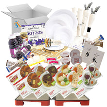 Load image into Gallery viewer, Couples Deluxe Kosher Shabbos Meals Package with HotMat Foldable Warmer – Ready to Eat – Travel or at Home – Kosher Food, For TWO – Everything Shabbat in a Box [Salmon, Meat, extra Kugel]