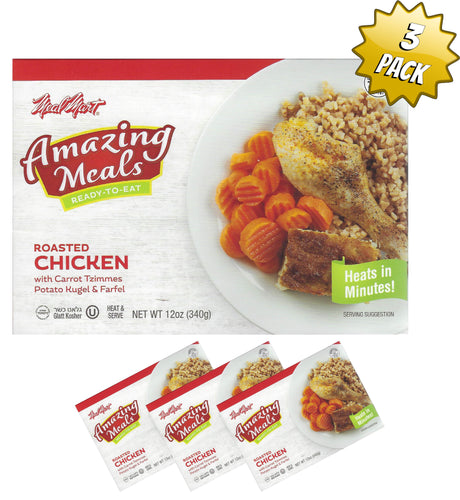 Meal Mart Amazing Meals Roasted Chicken with Carrot Tzimmes, Potato Kugel, and Ferfel - Pack of 3